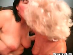Horny pussy licking session by two old hairy sluts
