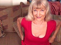 Skinny granny Nancy masturbating on FullHD camera