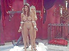 Three sluts bound together and suck lollipops