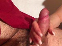 Sexy long nails handjob cumshot