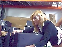 Sultry milf having sex with pawnkeeper in the backroom
