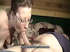 wild mature wife sucking the cock of her husband - homemade video