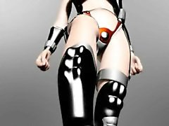 3D animen slave får pattar plågade