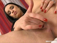 Kirsten Plant fucks a brutal dildo and tastes her juices