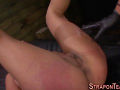 Lesbo slave gets fingered