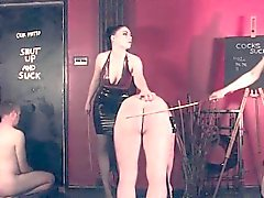 Rough femdoms spanking tiedup submissive