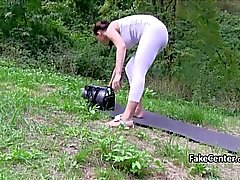 Slut fucked and creampied outdoors