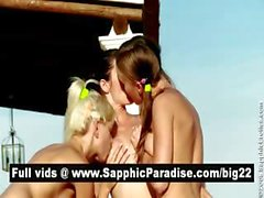Gorgeous brunette and blonde lesbos licking and fingering pussy in a three way lesbo orgy