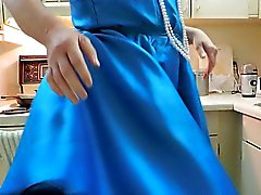 Sissy Ray in Blue Dress and Black Petticoat in Kitchen
