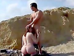 Nude Beach - Striking Redhead Anal