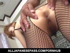 Aya Sakaki gets sex toys and cock through fishnet crotchless