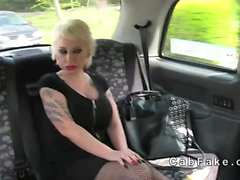 Busty Spanish babe fucked in British fake taxi
