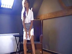 British slut Kayla plays with herself in hold-ups