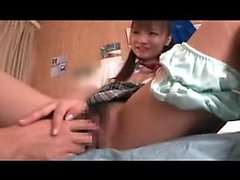 Beautiful Oriental schoolgirl seduces a nerdy boy to drill
