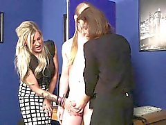 Clothed mistress blows