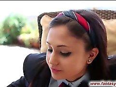 Schoolgirl sucks lollipop and cock