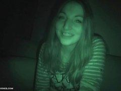 Spanish teen Jimena Lago sucks and fucks in night vision