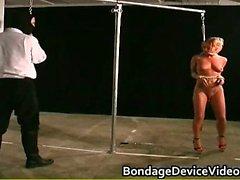 Sexy horny great body babe gets bondage