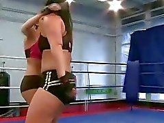 Two european beauties in hot lesbian wrestling