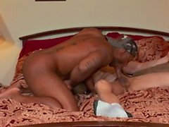 Chocolate thug gets head and burries his cock inside white guys ass