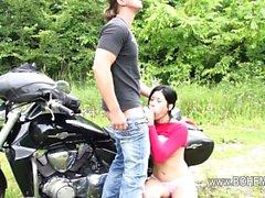 Sexy outdoor copulating