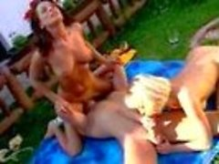 Hot Threesome In The Backyard