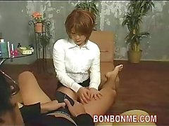 Cute foot masseur gives nice blowjob