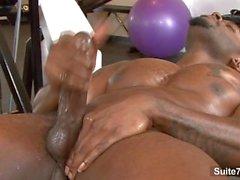 Amazing black gay jock with tattoed body Diesel Washington masturbating