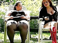 Marta and Jitka fuck their personal slave gardener