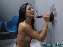 Babe sucks gloryhole dick