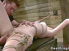 Tied up babe gangbanged by master and fucking machine