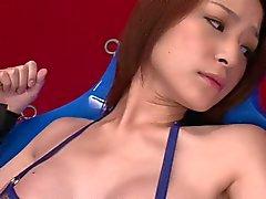 Bondage slut gets her pussy rubbed with various vibratots