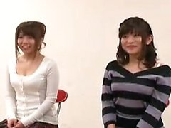 Two Japanese hotties go into the locker room to change into