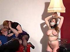 Lesbian livingroom bondage