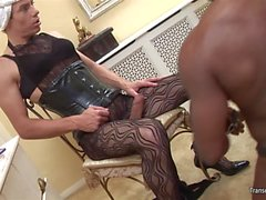Shemale mistress and cd dominate black slave