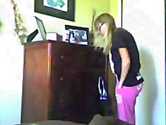 Cute Blond with great ass getting dressed