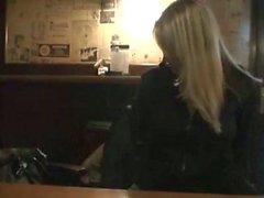 Hot blonde blowjob and fuck in public
