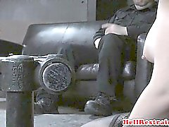 Cuffed sub whore gets legs spread apart
