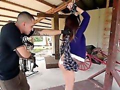 Whipped bound teen sucks
