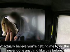 Huge tits British blonde fucking in fake taxi
