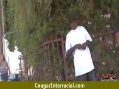 Sexy mature cougar rides black boy 3