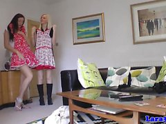 Heeled british lesbian pussylicked before bj