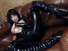 Hot pornstar latex with facial