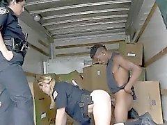 Two Uniformed White Hot Cops Sucking Black Dink Together