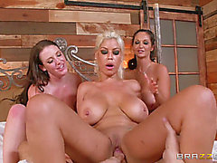 BrazzersExxtra Bridgette B threatening,Ava Addams And Angela White Chasing That Large D