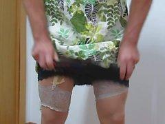 Green Flower skirt and sexy underwear