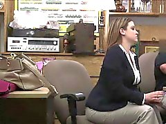 Massive tits on office beauty and BJ