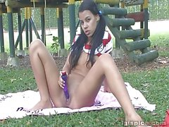 Indian babe masturbating at the playground