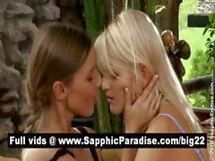 Amazing blonde and brunette lesbians kissing and having lesbian sex