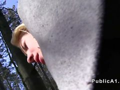 Czech blonde amateur banged in woods
